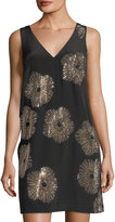 Trina Turk Glitterati Studded V-Neck Dress, Black