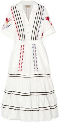 Temperley London Cherry Blossom Embroidered Cotton-poplin Midi Dress