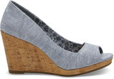 Toms Blue Chambray Women's Stella Wedges