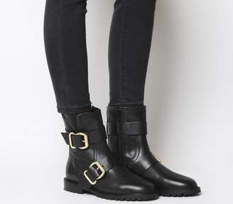 Office Anarchy Buckle Bikers Black Leather Gold Hardware