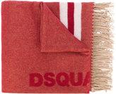 DSQUARED2 tassel-trimmed logo scarf - men - Cotton/Wool - One Size
