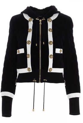 Balmain Quilted Hooded Bomber Jacket