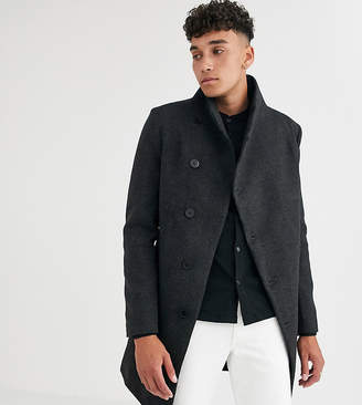 Religion tall funnel neck asymmetric overcoat in gray marl houndstooth