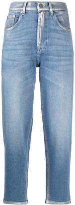 7 For All Mankind Malia metallized cropped jeans