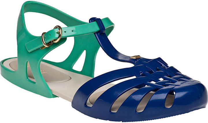 Melissa Spider Hits Flat Sandal Blue/Green Jelly