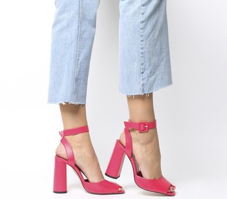 Office Heartly Ankle Strap Heels Pink Leather