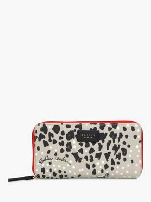 Radley Leopard Print Large Zip Around Matinee Purse, Aluminium