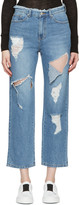 Sjyp Blue Destroyed Cut-out Jeans