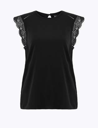 M&S CollectionMarks and Spencer Lace Short Sleeve Top
