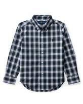 Ralph Lauren Poplin Plaid Button-Down Shirt, White Pattern, Size 2-4