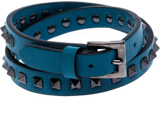Valentino Rockstud Blue Leather Gunmetal Tone Wrap Bracelet