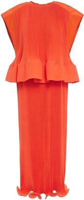 Tibi Layered Plisse Crepe De Chine Midi Dress