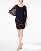 Connected Petite Lace Cold-Shoulder Cape Dress