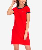 U.S. Polo Assn. Women's Tee Shirt Dresses RACING - Racing Red Ringer T-Shirt Dress - Women