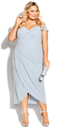 City Chic Rippled Love Dress - aquamarine