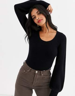 And other stories & scoop neck jumper in black