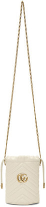 Gucci White Mini GG Marmont Bucket Bag