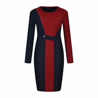 Your New Look Women's Color Block Long Sleeve Crewneck Knit Dress Casual Splicing Round Neck Sweater Dress for Daily Work Party Red