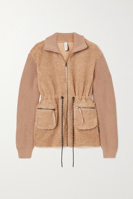Varley Westwood Paneled Faux Shearling And Ribbed Cotton Jacket - Camel