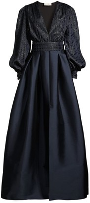 Sachin + Babi Lauren Jacquard Puff-Sleeve A-Line Gown