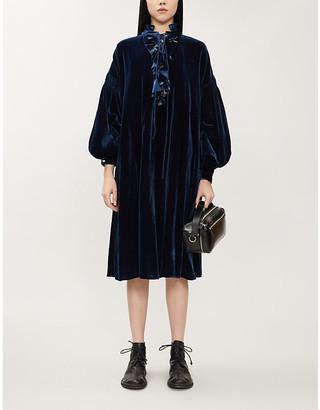 Renli Su High-neck frilled-trim velvet midi dress