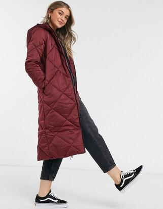 Brave Soul jaz satin longline puffer jacket