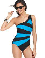INC International Concepts Swimsuit, One-Shoulder Striped Colorblock One-Piece