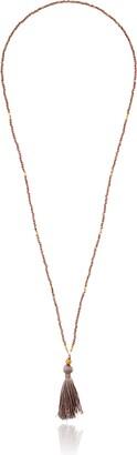 "Satya Jewelry Dark Champagne Quartz Gold Tassel Strand Necklace 30"""