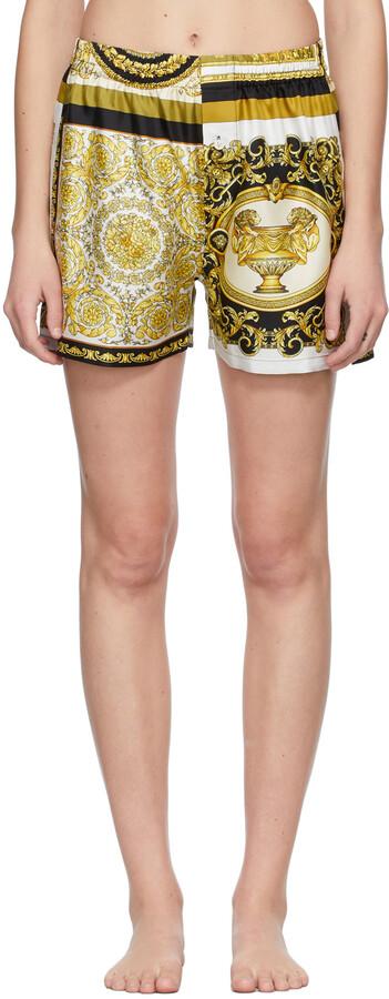Versace Underwear White Silk Barocco Mosaic Boxer Shorts