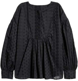 H&M Blouse with Eyelet Embroidery - Black