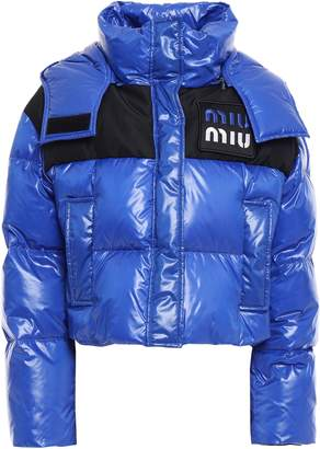 Miu Miu Appliqued Quilted Glossed-shell Hooded Down Coat