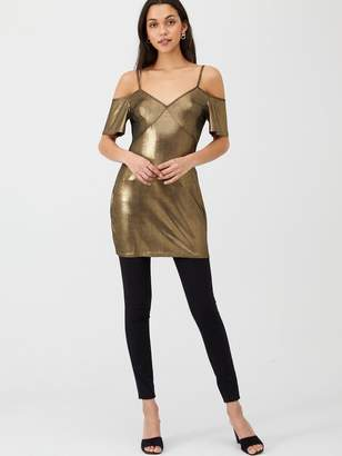 Very Foil Cold Shoulder Longline Party Jersey Top - Gold