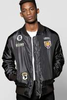 Boohoo Ma1 Bomber Jacket With Badges