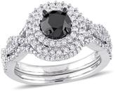 Julie Leah 1 1/2 CT TW Black and White Diamond 10K White Gold Bridal Set