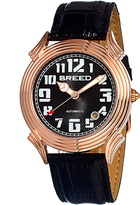 Breed Rose Gold & Black Strauss Automatic Leather-Strap Watch