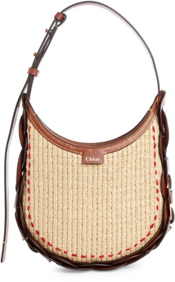 Chloé Small Darryl Raffia & Leather Hobo