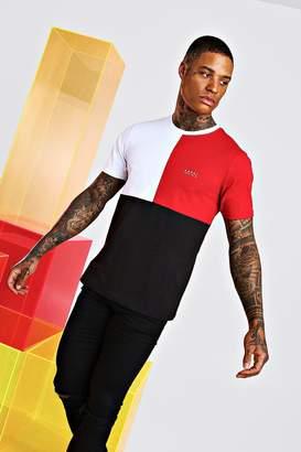 BoohoomanBoohooMAN Mens Red Original Man Colour Block T-Shirt, Red