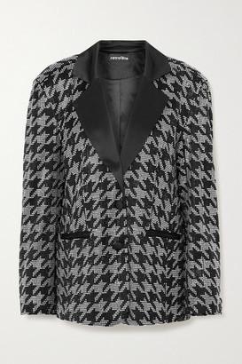 retrofete Ivy Crystal-embellished Houndstooth Satin Blazer - Black