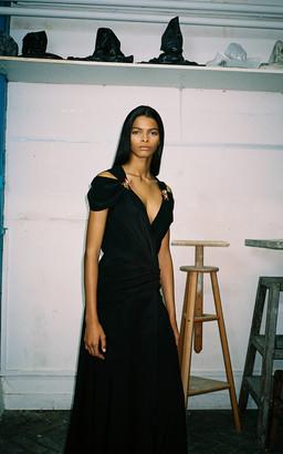 Alexandre Blanc Cold Shoulder Silk Maxi Dress