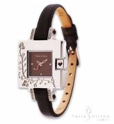 Paris Hilton Women's 138.4305.99 Small Square Crystal Leather Watch