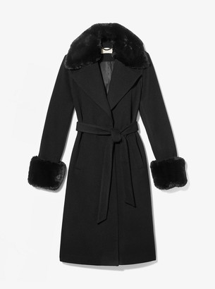 Faux Fur Trim Wool Wrap Coat