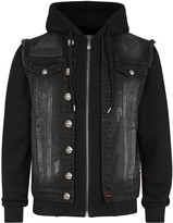 Philipp Plein Division Embroidered Denim And Jersey Jacket