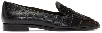 Sophia Webster Black Croc Butterfly Loafers