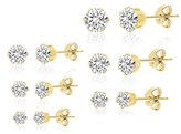 Bliss 18k White Gold Stainless Steel 6 Pair Stud Earring Set.