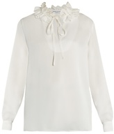 Sonia Rykiel Ruffled-neck long-sleeved crepe-satin blouse