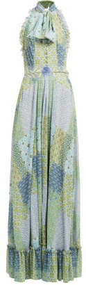 Luisa Beccaria Floral And Tile-print Tie-neck Gown - Green Multi