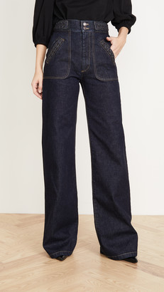 Marc Jacobs Flared Jeans With Braided Waist & Pocket