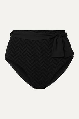Eres Pochette Belted Seersucker Bikini Briefs - Black