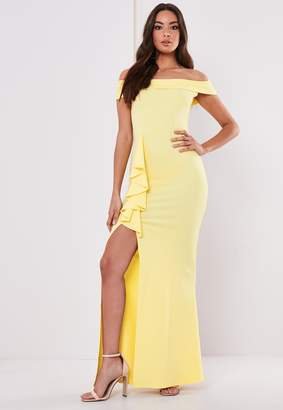 Missguided Bridesmaid Lemon Bardot Frill Maxi Dress