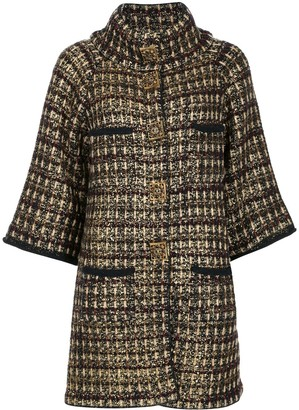 Chanel Pre-Owned checked pattern buttoned up jacket
